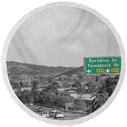 California Highway 101 Round Beach Towel
