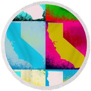 California Pop Art Panels Round Beach Towel