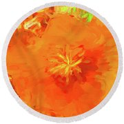 California Poppy Inside Round Beach Towel
