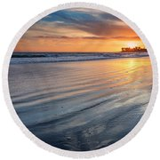 California Sunset V Round Beach Towel