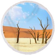 Camel Thorn Trees In Sossusvlei, Namibia Round Beach Towel