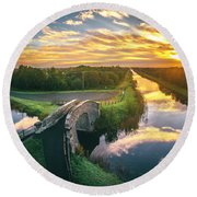Canal Sunrise Round Beach Towel