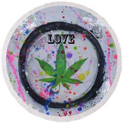 Cannabis With Love Round Beach Towel