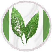 Cannas Leaves Round Beach Towel