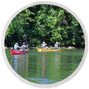 Canoeing On The Rideau Canal In Newboro Channel Ontario Canada Round Beach Towel
