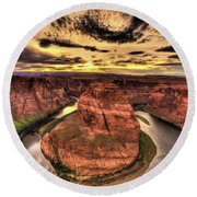 Canyons Bend Vertical  Round Beach Towel
