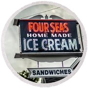 Cape Cod Four Seas Home Made Ice Cream Neon Sign Round Beach Towel