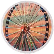 Capital Wheel Shining At Sunset  Round Beach Towel