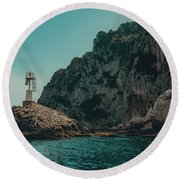 Capri Lighthouse Round Beach Towel