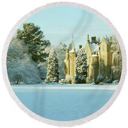 Carberry Tower In Late Afternoon Sunshine Round Beach Towel