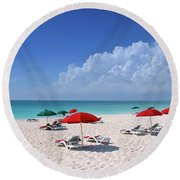 Caribbean Blue Round Beach Towel