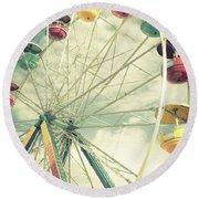 Carolina Beach Ferris Wheel Round Beach Towel