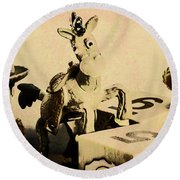 Cartoon Character Cowboys And Cowgirls Round Beach Towel