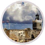Castillo San Felipe Del Morro Lighthouse San Juan, Puerto Rico  Round Beach Towel
