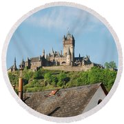 Castle At Cochem In Germany Round Beach Towel