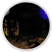 Castle In The Night Round Beach Towel