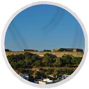Castle Of Castro Marim From The Hill Round Beach Towel