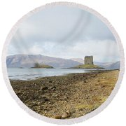 castle Stalker in late autumn Round Beach Towel