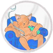 Cat Has Just Lost One Life Has Eight Lives Left Cartoon Round Beach Towel