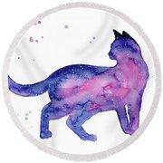 Cat In Space Round Beach Towel