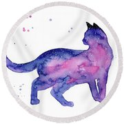 Cat In Space Round Beach Towel
