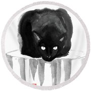 Cat On Wood Round Beach Towel