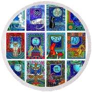 Cat Zodiac Paintings  Round Beach Towel