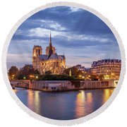 Cathedral Notre Dame And River Seine Round Beach Towel