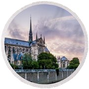 Cathedral Of Notre Dame From The Bridge - Paris France Round Beach Towel