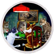 Cats Are Wild Poker Round Beach Towel