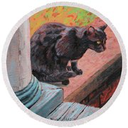 Cat's Pause 2 - Black Cat On The Front Porch Round Beach Towel