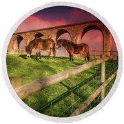 Cefn Viaduct Horses At Sunset Round Beach Towel