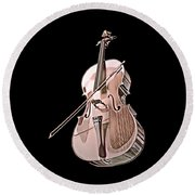 Cello String Music Instrument Musician Color Designed Round Beach Towel