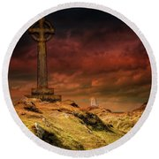 Celtic Cross Llanddwyn Island Round Beach Towel
