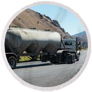 Cement Truck Turning Round Beach Towel