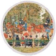 Central Park 1901 - Digital Remastered Edition Round Beach Towel