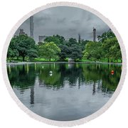 Central Park Reflections Round Beach Towel