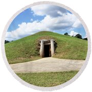 Indian Mound At Ocmulgee National Monument 1 Round Beach Towel