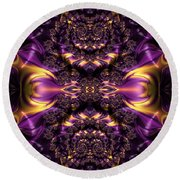 Chained Dragons Condemned  To Battle In Hells Fiery Furnace Fractal Abstract Round Beach Towel by Rose Santuci-Sofranko