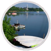 Chambly Basin And The Church Of St Joseph In Quebec Round Beach Towel
