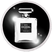 Chanel Lights Bw Round Beach Towel