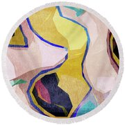 Chaotic Abstract Shapes Round Beach Towel