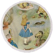 Characters From Alice In Wonderland  Round Beach Towel