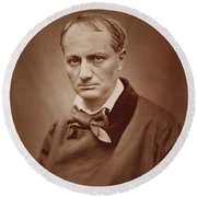 Charles Baudelaire, French Poet, Portrait Photograph  Round Beach Towel