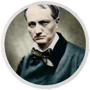 Charles Baudelaire, French Writer, Photo Round Beach Towel