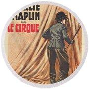 Charlie Chaplin Dans Le Cirque - Vintage Advertising Poster Round Beach Towel