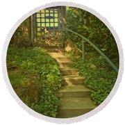Chateau Montelena Garden Stairway Round Beach Towel