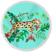 Cheetah's Hunt Round Beach Towel