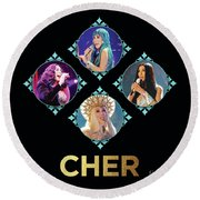 Cher - Blue Diamonds Round Beach Towel