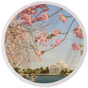 Cherry Blossoms At The Tidal Basin Round Beach Towel